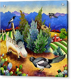 Spike The Dhog Meets A Magpie Acrylic Print by Anne Gifford