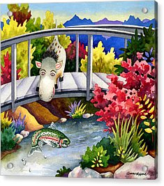 Spike The Dhog Watches A Jumping Trout Acrylic Print by Anne Gifford