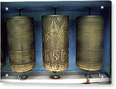 Spinning Prayer Wheels Is Said To Send Acrylic Print by Paul Dymond
