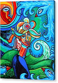 Spiral Bird Lady Acrylic Print by Genevieve Esson