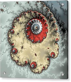 Spiral - Fractal Artwork In Yellow Gray And Red Acrylic Print by Matthias Hauser