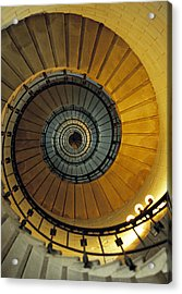 Spiral Staircase In Lighthouse France Acrylic Print by David Davies