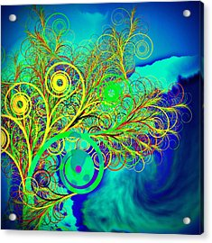 Spiral Tree With Blue Background Acrylic Print by GuoJun Pan