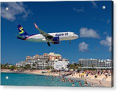 Spirit Airlines Low Approach To St. Maarten Acrylic Print