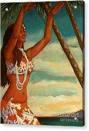 Acrylic Print featuring the painting Spirit Of Hula Detail by Janet McDonald
