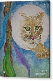 Acrylic Print featuring the painting Spirit Of The Mountain Lion by Ellen Levinson