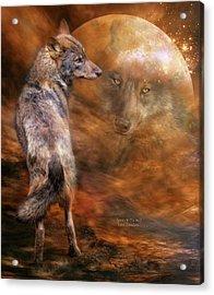Spirit Of The Wolf Acrylic Print by Carol Cavalaris