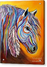 Acrylic Print featuring the painting 'spirit' War Horse by Janice Rae Pariza