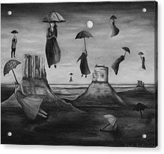 Spirits Of The Flying Umbrellas Bw Acrylic Print by Leah Saulnier The Painting Maniac