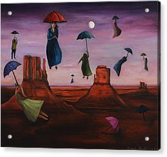 Spirits Of The Flying Umbrellas Acrylic Print by Leah Saulnier The Painting Maniac