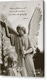 Spiritual Religious Angel Art With Jesus  Acrylic Print by Kathy Fornal