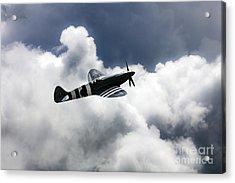 Spitfire Cloudy Skies  Acrylic Print by J Biggadike