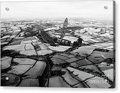 Spitfire Force - Mono   Acrylic Print by J Biggadike