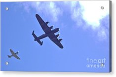 Acrylic Print featuring the photograph Spitfire  Lancaster Bomber by John Williams