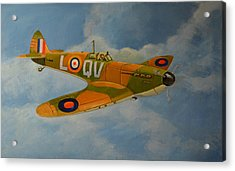 Acrylic Print featuring the painting Spitfire Mk1a by Murray McLeod