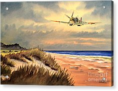 Spitfire Mk9 - Over South Coast England Acrylic Print by Bill Holkham