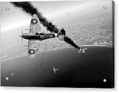 Raf Spitfires In Channel Dogfight Black And White Version Acrylic Print by Gary Eason