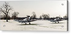 Spitfires In The Snow Acrylic Print by Gary Eason