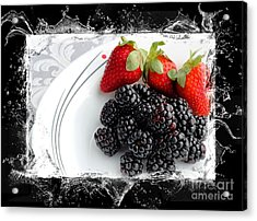 Splash - Fruit - Strawberries And Blackberries Acrylic Print by Barbara Griffin