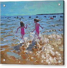 Splashing In The Sea Acrylic Print by Andrew Macara