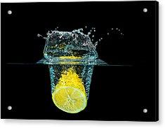 Splashing Lemon Acrylic Print
