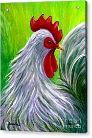 Acrylic Print featuring the painting Splashy Rooster by Sandra Estes