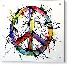 Splatter Peace Acrylic Print by Christy Bruna