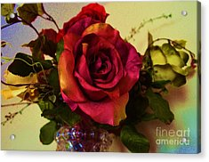 Splendid Painted Rose Acrylic Print by Luther Fine Art