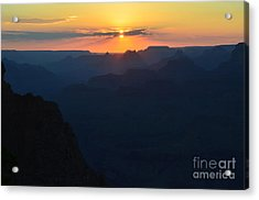 Split Sun Orange Sunset Twilight Over Silhouetted Spires In Grand Canyon National Park Acrylic Print