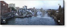Spokane City Skyline On A Frigid Morning Acrylic Print by Daniel Hagerman