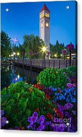 Spokane Clocktower By Night Acrylic Print by Inge Johnsson