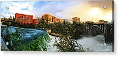 Spokane Falls City Skyline Acrylic Print by Dan Quam