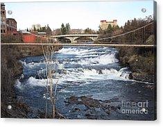 Spokane Falls In Winter Acrylic Print by Carol Groenen