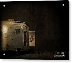 Spooky Airstream Campsite Acrylic Print by Edward Fielding