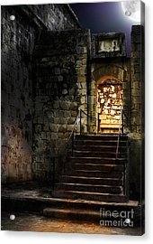 Spooky Backlit Door Way In Moon Light Acrylic Print by Oleksiy Maksymenko