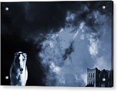 Spooky Wolflike Borzoi Hound And Old Castle Acrylic Print by Christian Lagereek