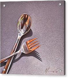 Spoon And Fork 1 Acrylic Print by Elena Kolotusha