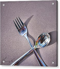 Spoon And Fork 2 Acrylic Print by Elena Kolotusha