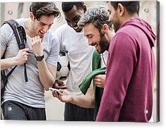 Sports Guys With Smart Phone Having Fun Acrylic Print by Hinterhaus Productions