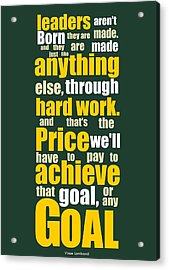 Sports Quotes Poster Acrylic Print by Lab No 4 - The Quotography Department