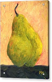 Spotted Yellow Pear Acrylic Print by Marie-louise McHugh