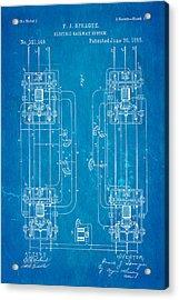 Sprague Electric Railway Patent Art 1885 Blueprint Acrylic Print