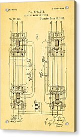 Sprague Electric Railway Patent Art 1885 Acrylic Print