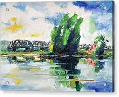 Spring At River Elbe Near Doemitz Germany Acrylic Print by Barbara Pommerenke