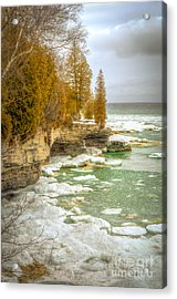 Acrylic Print featuring the photograph Spring Breaking Through At Cave Point by Mark David Zahn Photography