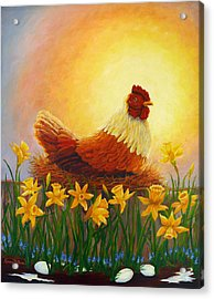 Acrylic Print featuring the painting Spring Chicken by Karen Mattson