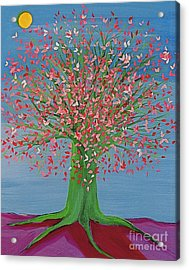 Acrylic Print featuring the painting Spring Fantasy Tree By Jrr by First Star Art