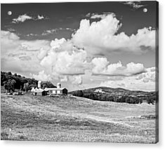 Spring Farm And Hay Field With Clouds In Maine Acrylic Print