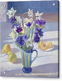 Spring Flowers And Lemons Acrylic Print by Timothy  Easton