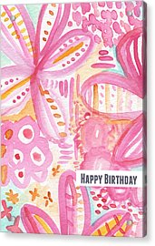 Spring Flowers Birthday Card Acrylic Print by Linda Woods